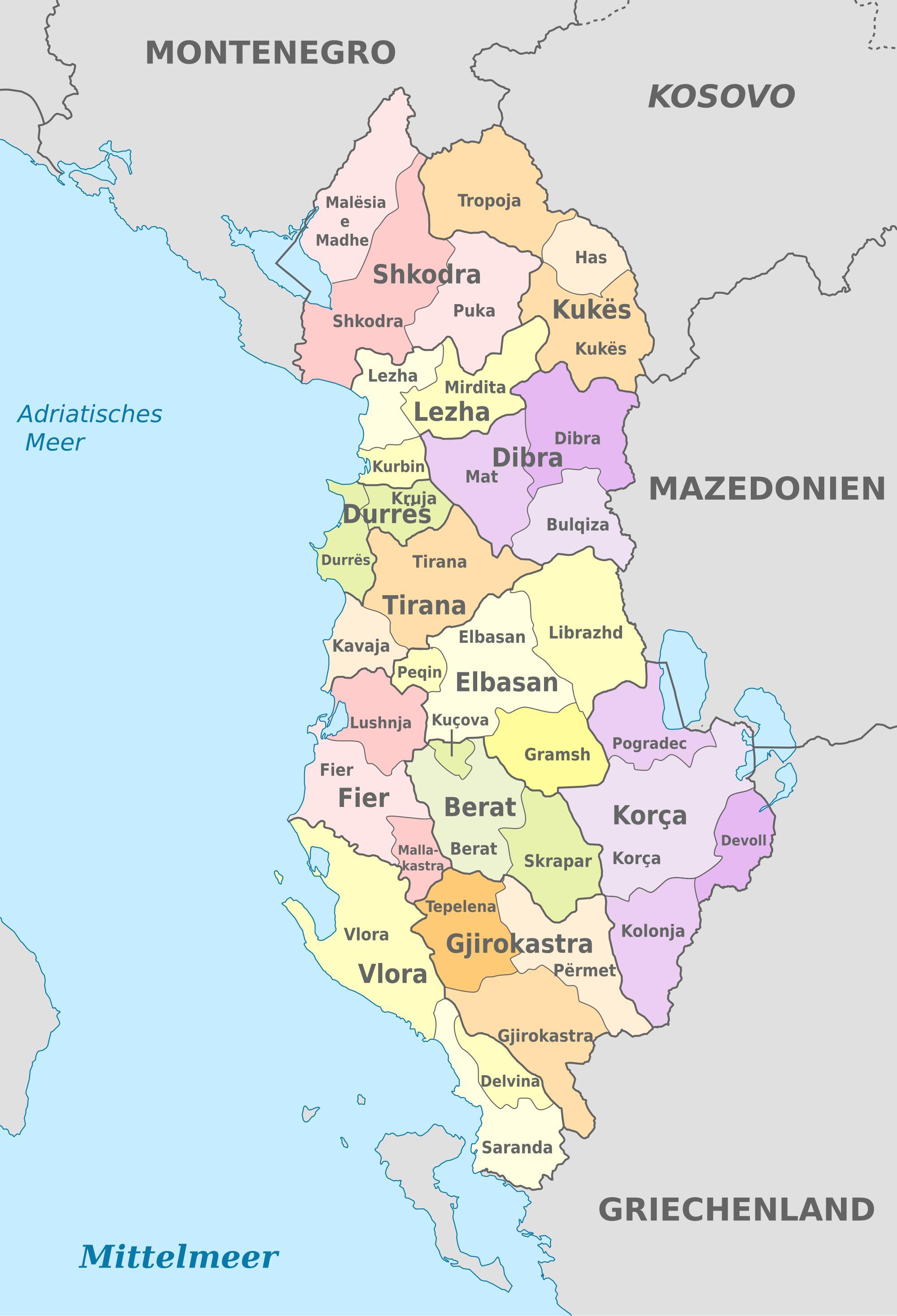 Albania Mapa Polityczna Mapa Albanii Polityczne Europa